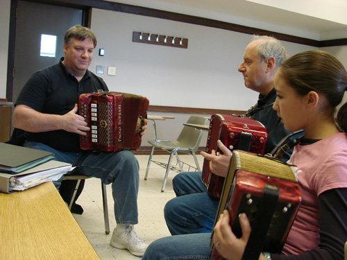 Accordion class with Larry Reynolds Jr and students