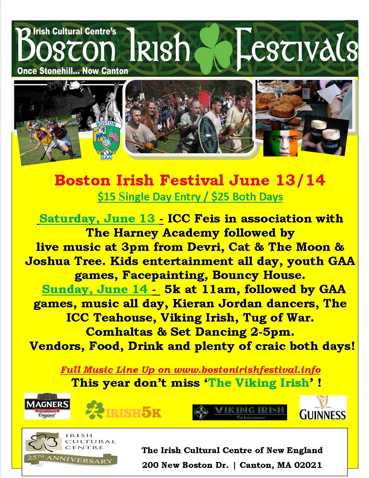Boston Irish Festival June 13-14, 2015 - Boston Comhaltas musicians play from 2-5PM on Sunday, June 14th.